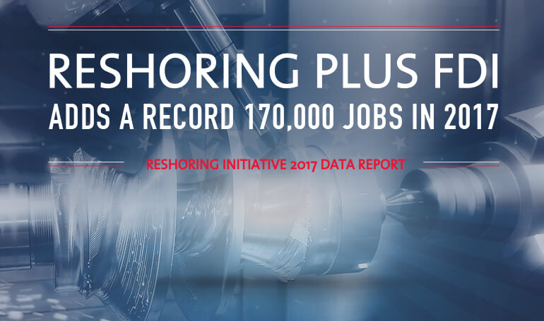 Reshoring Initiative 2017 Data Report: Reshoring plus FDI job<br /> announcements up 2,800% since 2010